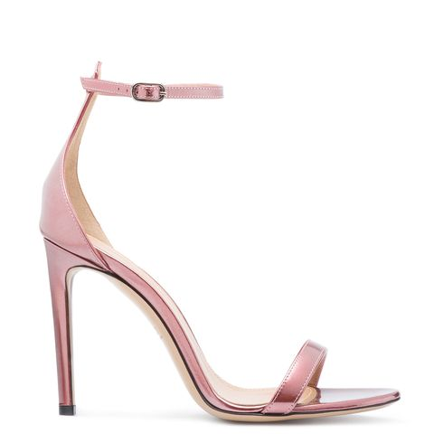 Sandalo nude in pelle metal rosa e cinturino alla caviglia