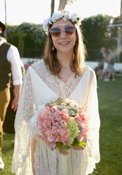 INDIO, CA - APRIL 11:  Bride Nicole Keppler poses for photos following her Coachella Wedding during day 2 of the 2015 Coachella Valley Music & Arts Festival (Weekend 1) at the Empire Polo Club on April 11, 2015 in Indio, California.  (Photo by Matt Cowan/Getty Images)