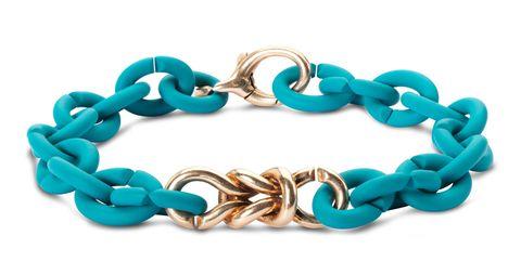 Bracciale componibile a catena in gomma celeste e chiusura e nodo in oro