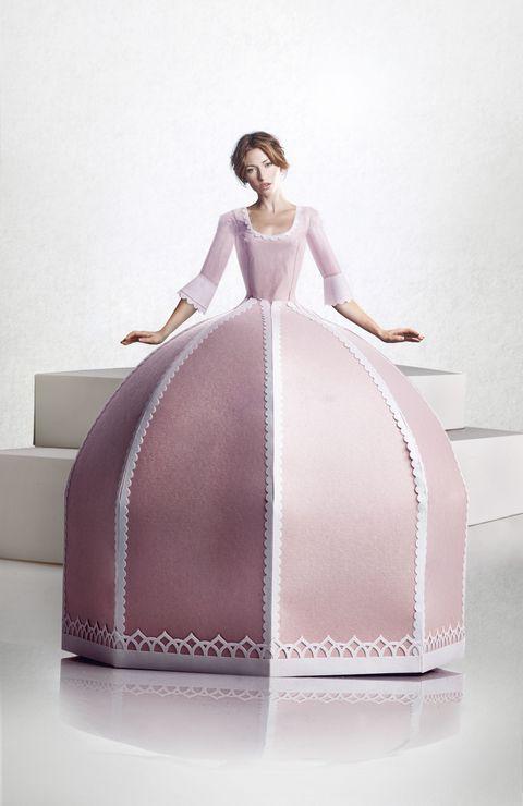 Dress, Pink, Fashion, Gown, hoopskirt, Cake, Wedding dress, Bridal clothing, Embellishment, Fashion design,