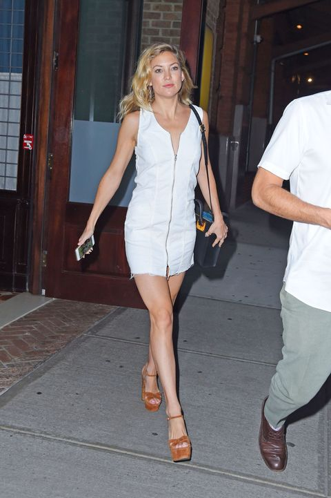 NEW YORK - JULY 09: Kate Hudson seen out in Tribeca in white on July 09, 2015 in New York, New York.  (Photo by Josiah Kamau/BuzzFoto via Getty Images)