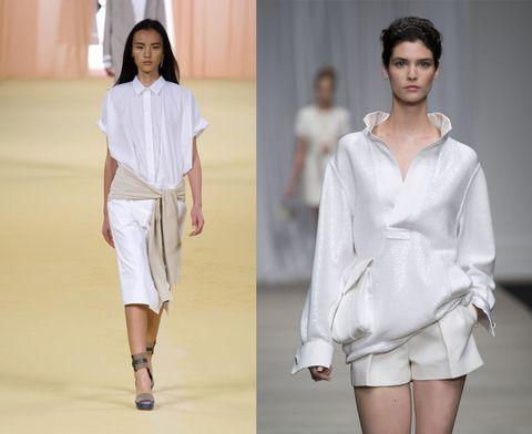Il bianco è amico dell'abbronzatura, il bianco è sempre elegante, il bianco è un passe par tout. La camicia nobilita il resto dell'abbinamento, l'abito chemisier risolve all'istante. <strong>Da sinistra: Hermes, Ermanno Scervino Primavera Estate 2015 </strong>