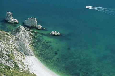 Italy, Marche, Mount Conero, Faraglioni delle Due Sorelle, Seashore, high angle view