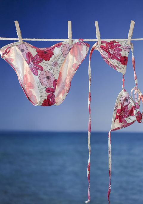 Bikini drying on clothesline