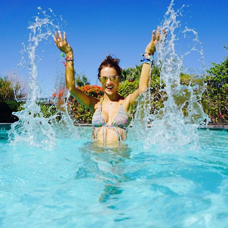 Alessandra Ambrosio has posted a photo on Instagram with the following remarks:Wherever you go, make a BIG splash #foreveronvacation #coachella#alebyalessandraswim: at @nordstrom#aleblings: http://bit.ly/1yIUypP at @baublebar Instagram, 2015-05-18 12:48:00. Photo supplied by insight media. Service fee applies.This is a private photo posted on social networks and supplied by this Agency. This Agency does not claim any ownership including but not limited to copyright or license in the attached material. Fees charged by this Agency are for Agency's services only, and do not, nor are they intended to, convey to the user any ownership of copyright or license in the material. By publishing this material you expressly agree to indemnify and to hold this Agency and its directors, shareholders and employees harmless from any loss, claims, damages, demands, expenses (including legal fees), or any causes of action or allegation against this Agency arising out of or connected in any way with publication of the material.