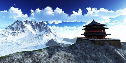 Mountainous landforms, Cloud, Mountain range, Chinese architecture, Mountain, Japanese architecture, Slope, Arête, Summit, Ridge,