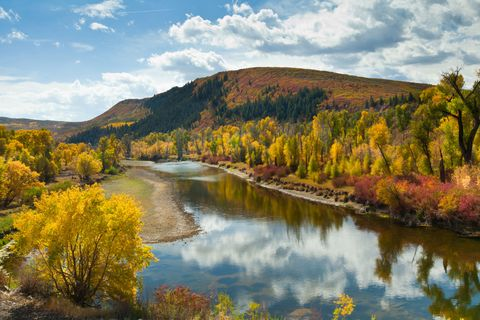 Yampa River in autumn, Colorado, USA