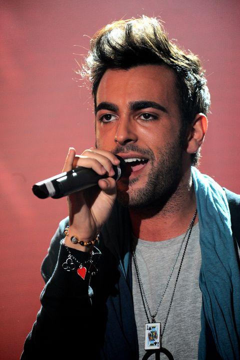 """MILAN, ITALY - APRIL 03:  Marco Mengoni appears on """"Top of the pops"""" tv show  on April 3, 2010 in Milan, Italy.  (Photo by Morena Brengola/Getty Images)"""