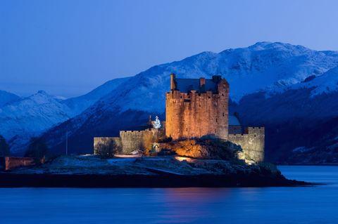 Eilean Donan castle on the shore of Loch Duich, Kintail. Scotland.