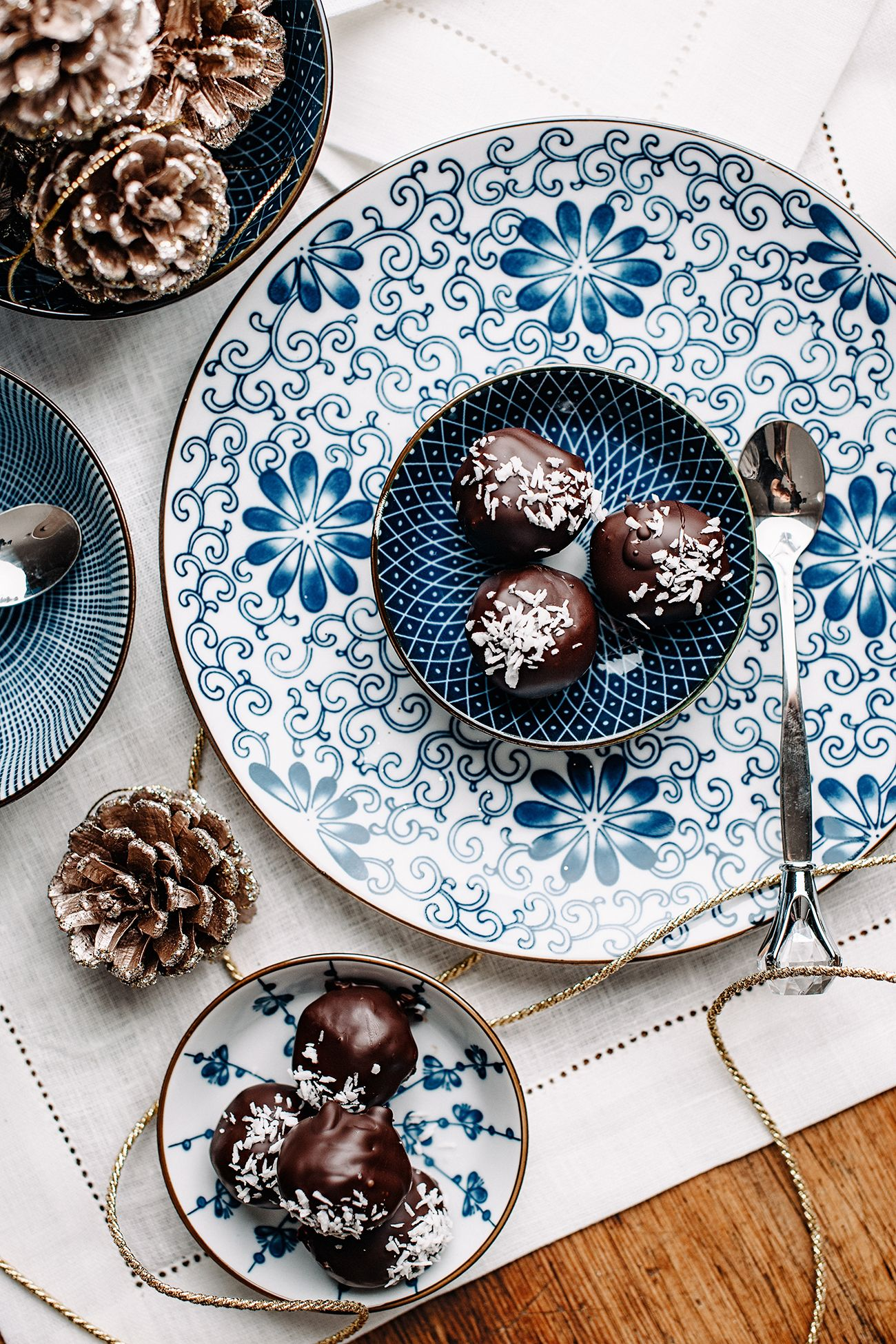 Homemade chocolate candy overhead table top