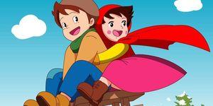 Heidi e Peter che scendono sullo slittino