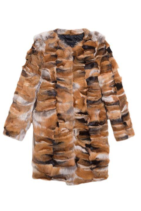 Cappotto tre quarti girocollo in pelliccia ecologica