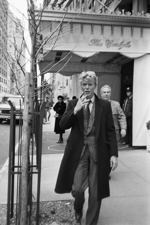 David Bowie outside the Carlyle Hotel; circa 1970; New York. (Photo by Art Zelin/Getty Images)