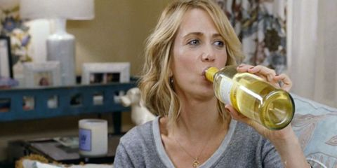 Product, Bottle, Drink, Neck, Drinkware, Blond, Drinking, Sweater, Brown hair, Serveware,