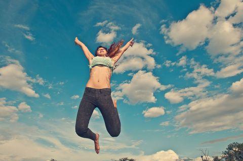 Sky, Cloud, Human leg, Happy, People in nature, Rejoicing, Jumping, Active pants, Knee, Waist,