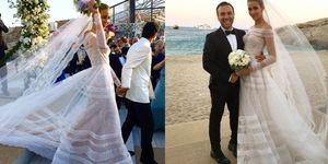 Due scene del matrimonio a Mykonos di Ana Beatriz Barros con l'abito da sposa di Valentino