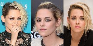Tre immagini di Kristen Stewart con i capelli medi raccolti in tre modi diversi