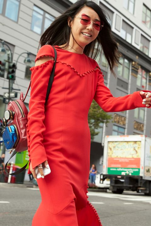 Sleeve, Window, Sunglasses, Bag, Dress, Street fashion, Fashion accessory, Costume, Truck, Lipstick,