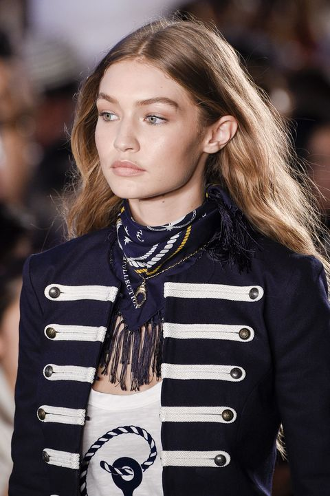 NEW YORK, NY - SEPTEMBER 09:  Gigi Hadid, beauty runway detail, walks the runway at Tommy Hilfiger Women's Fashion Show during New York Fashion Week at Pier 19 on September 9, 2016 in New York City.  (Photo by Peter White/WireImage)