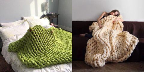 coperta gigante lavorare a maglia