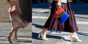6 palette colore per indossare la gonna a pieghe, da scegliere in due lunghezze: la gonna plissettata