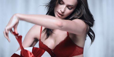 Lip, Hairstyle, Brassiere, Red, Lingerie, Undergarment, Beauty, Black hair, Fashion, Model,
