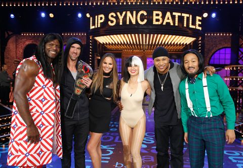 STUDIO CITY, CA - SEPTEMBER 11:  (L-R) Terry Crews, Michael Phelps, Colorful commentator Chrissy Teigen, Olivia Munn, Host LL Cool J and John Legend onstage during Spike TV's Lip Sync Battle: All Stars Live on September 11, 2016 in Studio City, California. (photo by Trae Patton / Spike TV)  (Photo by Handout/Getty Images for Spike TV)