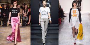 Maria Grazia Chiuri da Dior ha dato il via al trend delle t-shirt personalizzate con frasi e messaggi speciali, e New York segue a ruota anche per il prossimo autunno inverno 2017 2018.