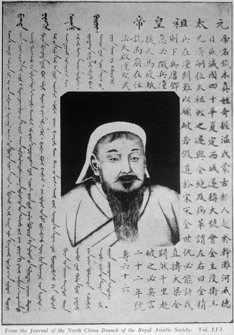 Circa 1200, Mongol conqueror Genghis Khan (1162 - 1227), the son of a Mongol chief. (Photo by Hulton Archive/Getty Images)