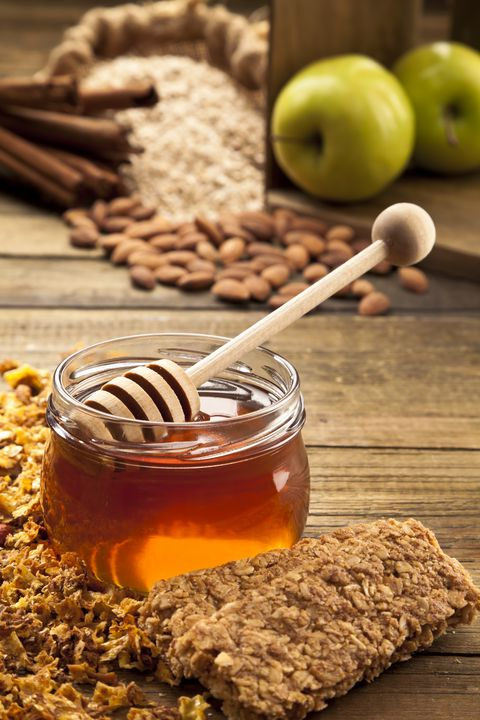 Honey Pot and Dipper with Green Apples, Oat, Cinnamon Sticks, Almonds and Granola Bar. RELATED PHOTOS ON MY PORTFOLIO
