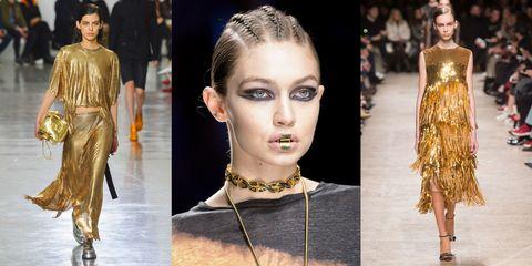 bc3737fb0086 Dalle passerelle della Parigi Fashion Week risplendono solo vestiti eleganti  oro