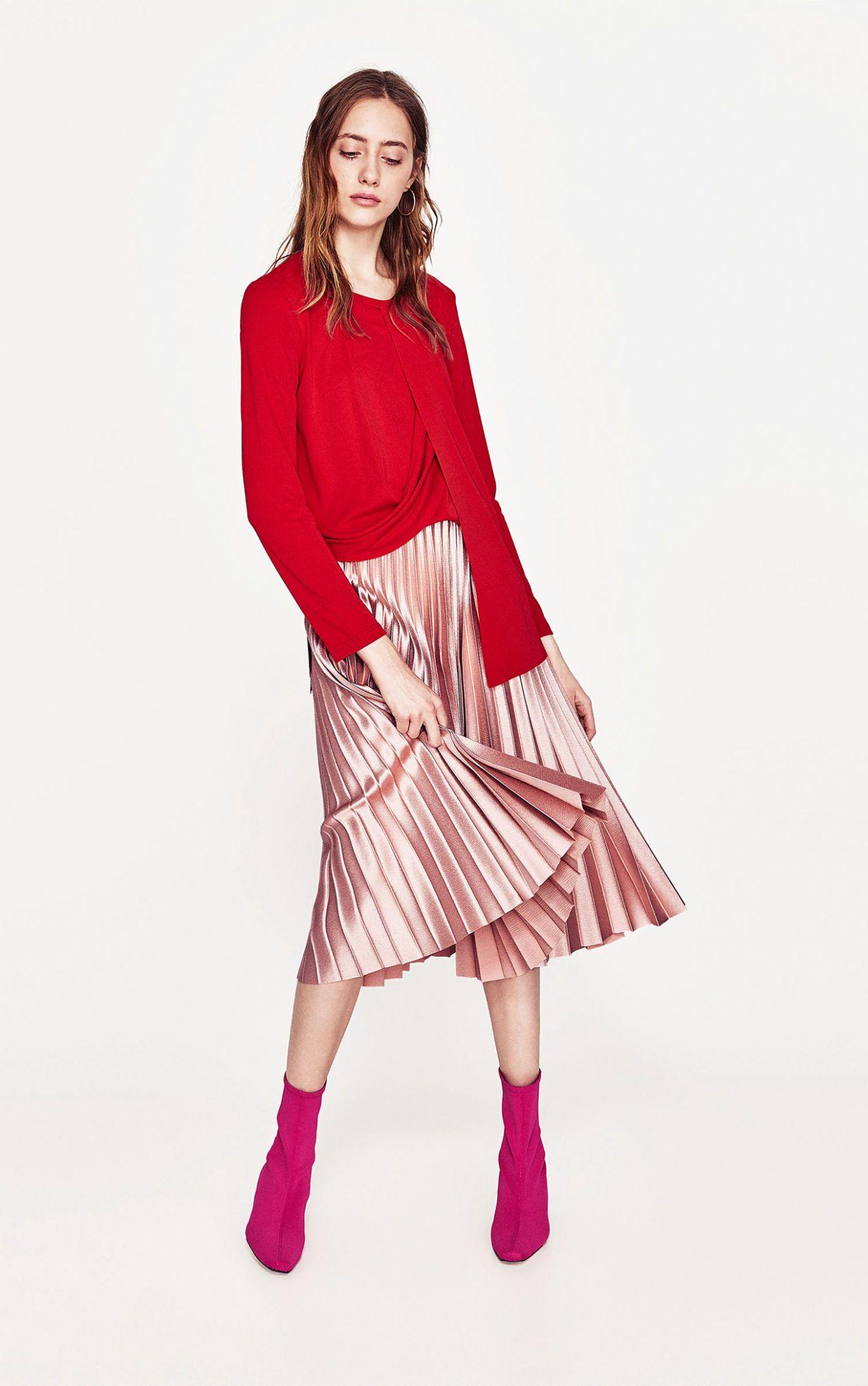 è fashion rosa nuova Zara di gonna plissettata ossessione la La wazqZXx