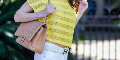 Street fashion, Clothing, Yellow, Shoulder, Fashion, Outerwear, Beauty, Jeans, Neck, Footwear,