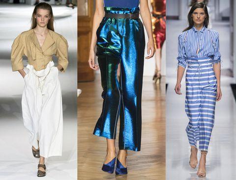 Se non ti sei ancora innamorata dei paper bag trousers, questo è il momento per farlo: sono pantaloni a sacchetto a vita alta con cintura da cui sbordano quattro dita di tessuto oltre l'ombelico, l'ideale per allungare la silhouette