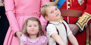 I principini George e Charlotte durante il compleanno della Regina Elisabetta II