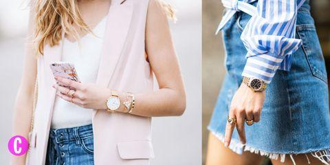 Diventa un'esperta in abbinamenti di gioielli e orologi: quest'estate sono la combinazione perfetta. Tanti, differenti tra loro in oro giallo, oro rosa, argento e nero.