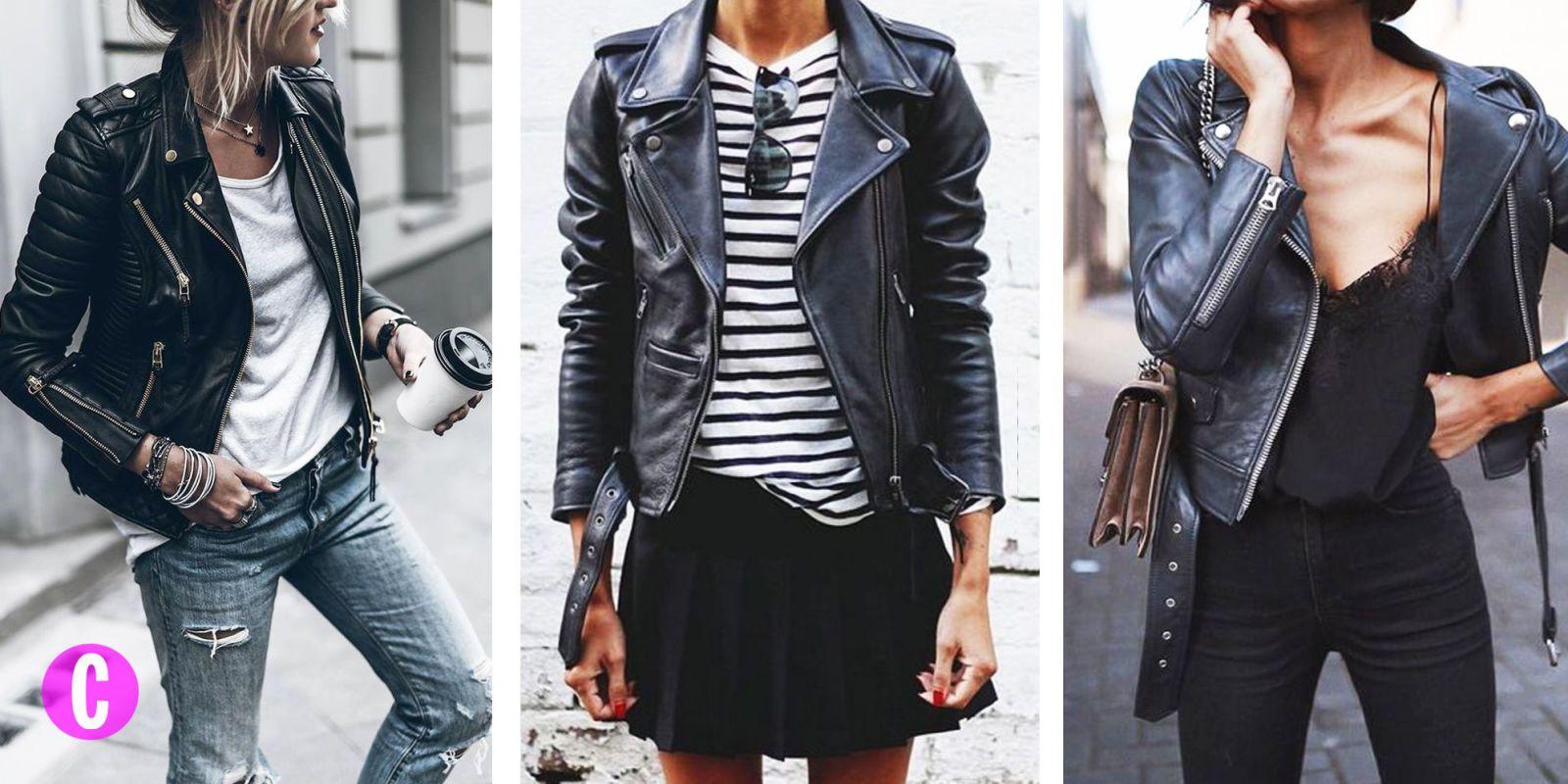 abbinamento giacca di pelle nera