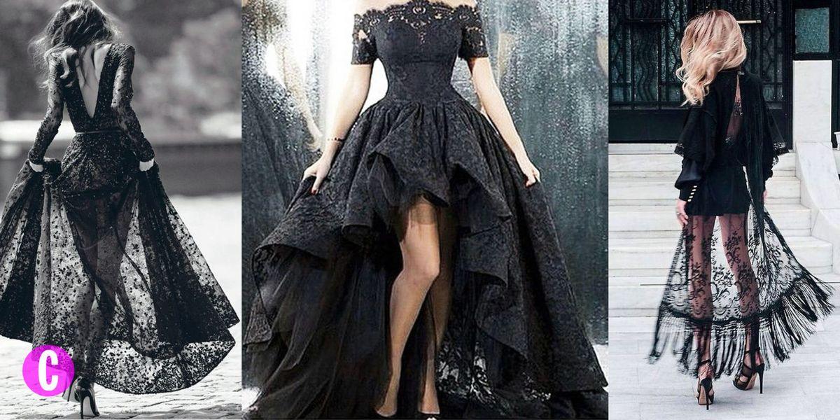 995e2c381658 Vestito nero corto davanti e lungo dietro  le tendenze moda 2018