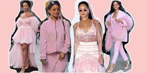 Rihanna outfit millennial pink