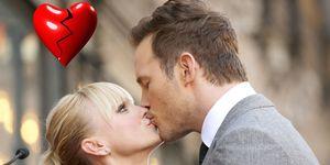 Chris Pratt e Anna Faris con un cuore spezzato per indicare la fine della loro storia