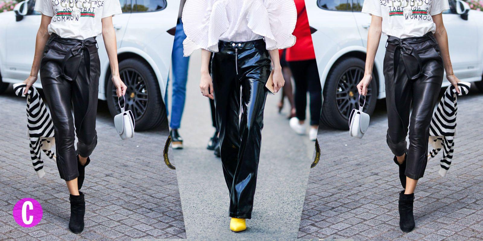 Fai la dura: pantaloni neri di pelle e vernice e gli