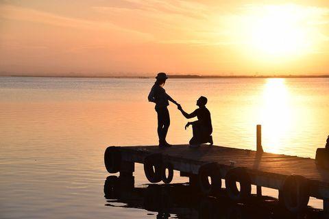 Water, Sunset, People in nature, Waterway, Evening, Sunrise, Horizon, Dock, Dusk, Sun,