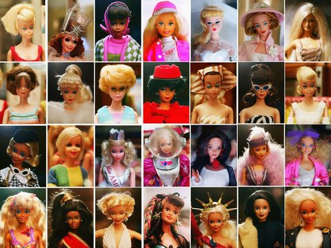 Pink, Headgear, Toy, Collage, Collection, Wig, Doll, Hair coloring, Makeover, Bangs,