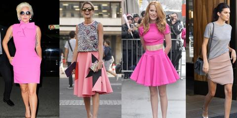 Clothing, Dress, Magenta, Pink, Style, Street fashion, Fashion accessory, Fashion, Waist, Day dress,