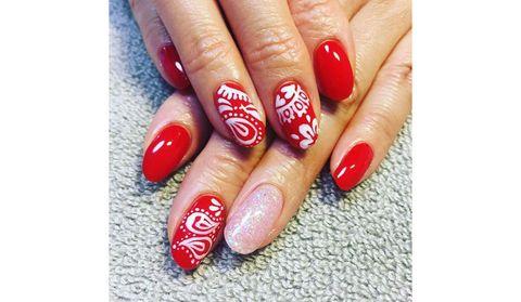 Blue, Finger, Skin, Nail care, Red, Nail polish, Nail, Manicure, White, Pink,