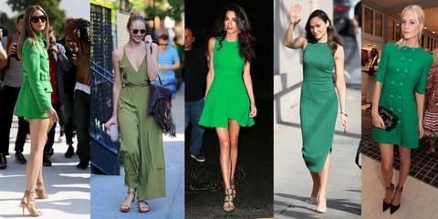 Clothing, Footwear, Leg, Green, Dress, Outerwear, Sunglasses, Formal wear, Style, One-piece garment,