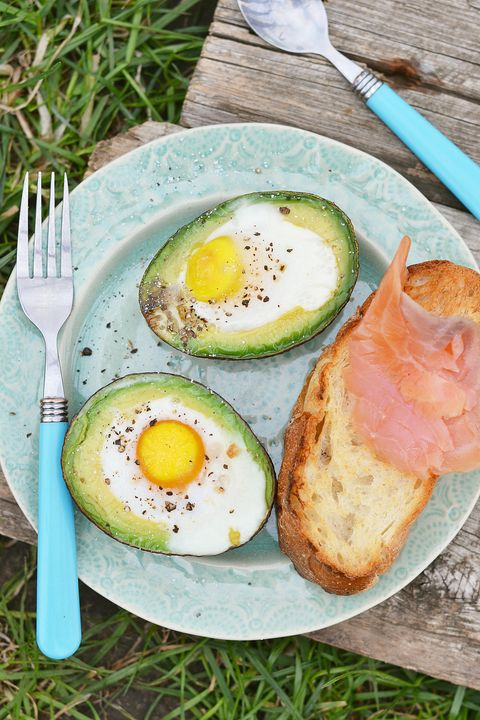 avocado and salmon on bread plate