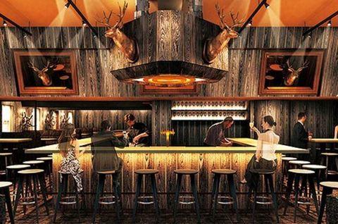 Lighting, Furniture, Table, Interior design, Ceiling, Tavern, Restaurant, Picture frame, Drinking establishment, Light fixture,