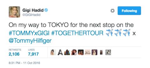 10月11日:Twitterで日本への来日を知らせた