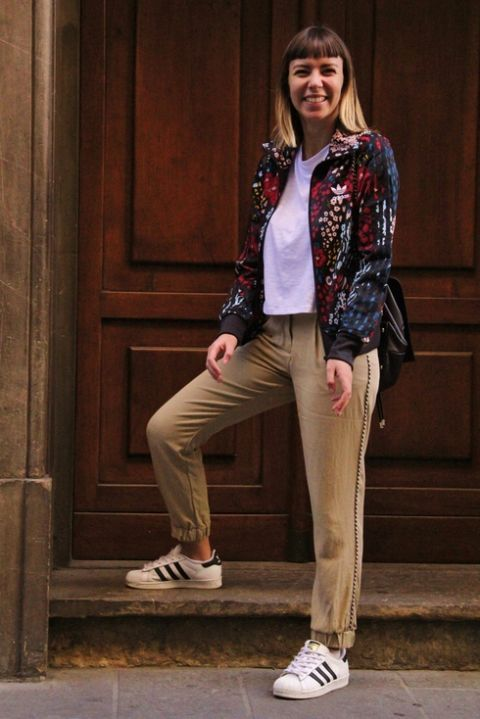 Clothing, Footwear, Sleeve, Trousers, Shoe, Standing, Outerwear, Collar, Style, Street fashion,